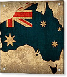 Map Of Australia With Flag Art On Distressed Worn Canvas Acrylic Print