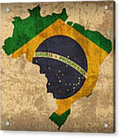 Map Of Brazil With Flag Art On Distressed Worn Canvas Acrylic Print by Design Turnpike