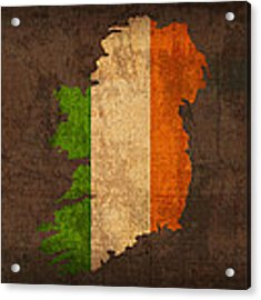 Map Of Ireland With Flag Art On Distressed Worn Canvas Acrylic Print by Design Turnpike