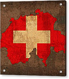 Map Of Switzerland With Flag Art On Distressed Worn Canvas Acrylic Print