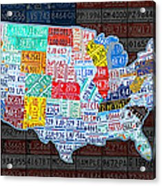 Map Of The United States In Vintage License Plates On American Flag Acrylic Print by Design Turnpike