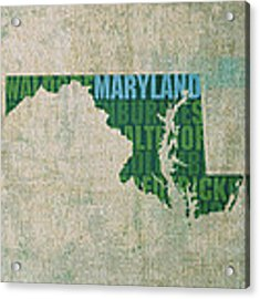 Maryland Word Art State Map On Canvas Acrylic Print by Design Turnpike