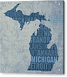 Michigan Great Lake State Word Art On Canvas Acrylic Print