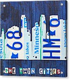 Minneapolis Minnesota City Skyline License Plate Art The Twin Cities Acrylic Print