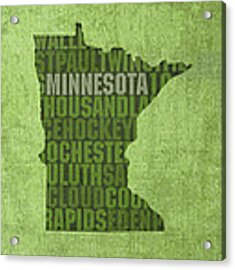 Minnesota Word Art State Map On Canvas Acrylic Print