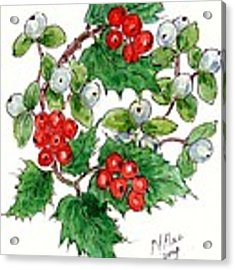 Mistletoe And Holly Wreath Acrylic Print by Nell Hill