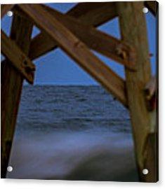 Moon Rise Under Pier Acrylic Print by Francis Trudeau
