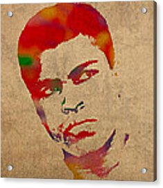 Muhammad Ali Watercolor Portrait On Worn Distressed Canvas Acrylic Print