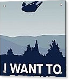 My I Want To Believe Minimal Poster-millennium Falcon Acrylic Print