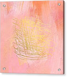 Nest- Pink And Gold Abstract Art Acrylic Print by Linda Woods
