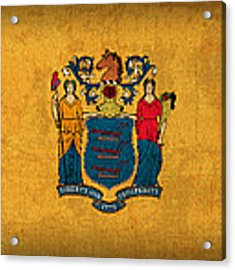 New Jersey State Flag Art On Worn Canvas Acrylic Print