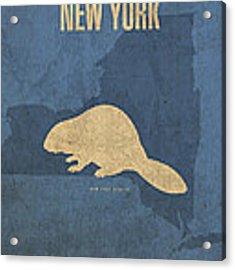 New York State Facts Minimalist Movie Poster Art  Acrylic Print
