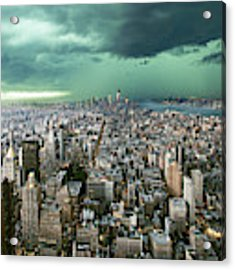New-york Under Storm Acrylic Print by Pagniez