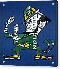 Notre Dame Fighting Irish Leprechaun Vintage Indiana License Plate Art  Acrylic Print by Design Turnpike