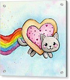 Nyan Cat Valentine Heart Acrylic Print by Olga Shvartsur