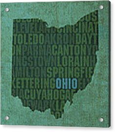 Ohio State Word Art On Canvas Acrylic Print