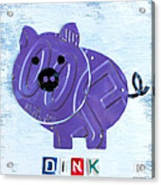 Oink The Pig License Plate Art Acrylic Print