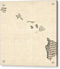 Old Sheet Music Map Of Hawaii Acrylic Print