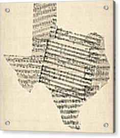 Old Sheet Music Map Of Texas Acrylic Print by Michael Tompsett