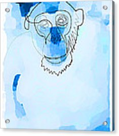Online Blue Monkey  Acrylic Print by Quibe Sarl