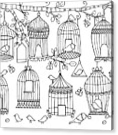 Pattern Birdcages Acrylic Print by MGL Meiklejohn Graphics Licensing
