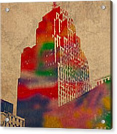 Penobscot Building Iconic Buildings Of Detroit Watercolor On Worn Canvas Series Number 5 Acrylic Print