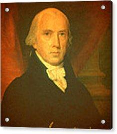 President James Madison Portrait And Signature Acrylic Print
