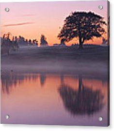 Reflections In A Lake At Dawn / Maynooth Acrylic Print by Barry O Carroll