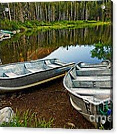 Row Boats Lining A Lake In Mammoth Lakes California Acrylic Print by Jamie Pham
