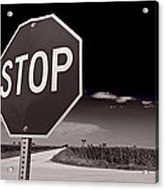 Rural Stop Sign Bw Acrylic Print by Steve Gadomski