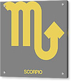 Scorpio Zodiac Sign Yellow On Grey Acrylic Print