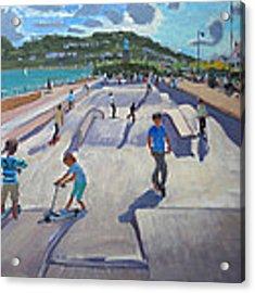 Skateboaders  Teignmouth Acrylic Print