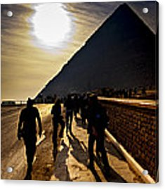 Standing Before The Great Pyramid In Egypt Acrylic Print by Mark E Tisdale