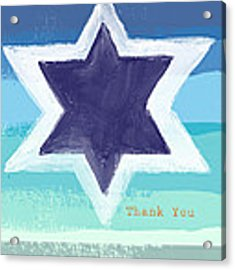 Star Of David In Blue - Thank You Card Acrylic Print by Linda Woods