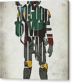 Star Wars Inspired Boba Fett Typography Artwork Acrylic Print