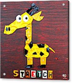 Stretch The Giraffe License Plate Art Acrylic Print