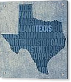 Texas Word Art State Map On Canvas Acrylic Print
