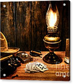 The Cowboy Nightstand Acrylic Print by Olivier Le Queinec