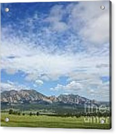 The Flatirons In Spring Acrylic Print by Kate Avery