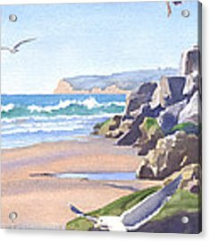Three Seagulls At Coronado Beach Acrylic Print by Mary Helmreich
