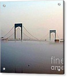 Throggs Neck Bridge In The Fog Acrylic Print by Dale   Ford