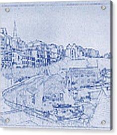 Trenby Bay Blueprint Acrylic Print