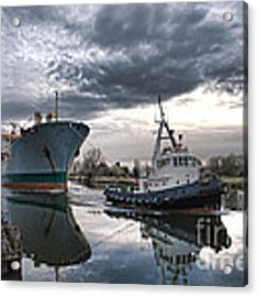 Tugboat Pulling A Cargo Ship Acrylic Print by Olivier Le Queinec