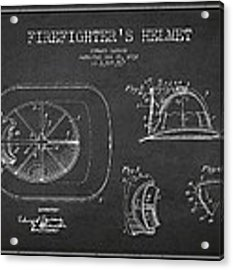 Vintage Firefighter Helmet Patent Drawing From 1932 Acrylic Print by Aged Pixel