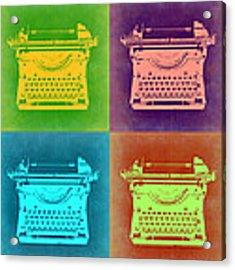 Vintage Typewriter Pop Art 1 Acrylic Print by Naxart Studio