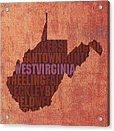 West Virginia State Word Art On Canvas Acrylic Print by Design Turnpike