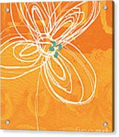 White Flower On Orange Acrylic Print