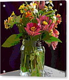 Wildflowers And Zinnias In A Jar  Contemporary Digital Art Acrylic Print by G Linsenmayer