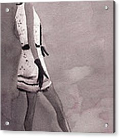 Woman In A Black And White Mini Dress Fashion Illustration Art Print Acrylic Print by Beverly Brown