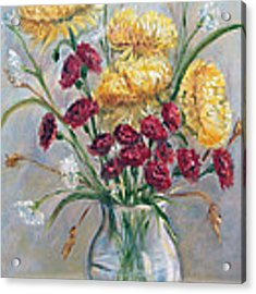 Yellow Mums Acrylic Print by Katalin Luczay